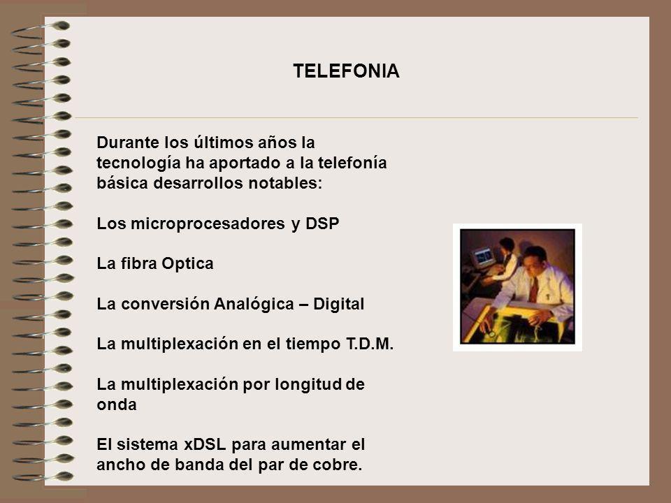 TELEFONIA Durante los últimos años la tecnología ha aportado a la telefonía básica desarrollos notables: