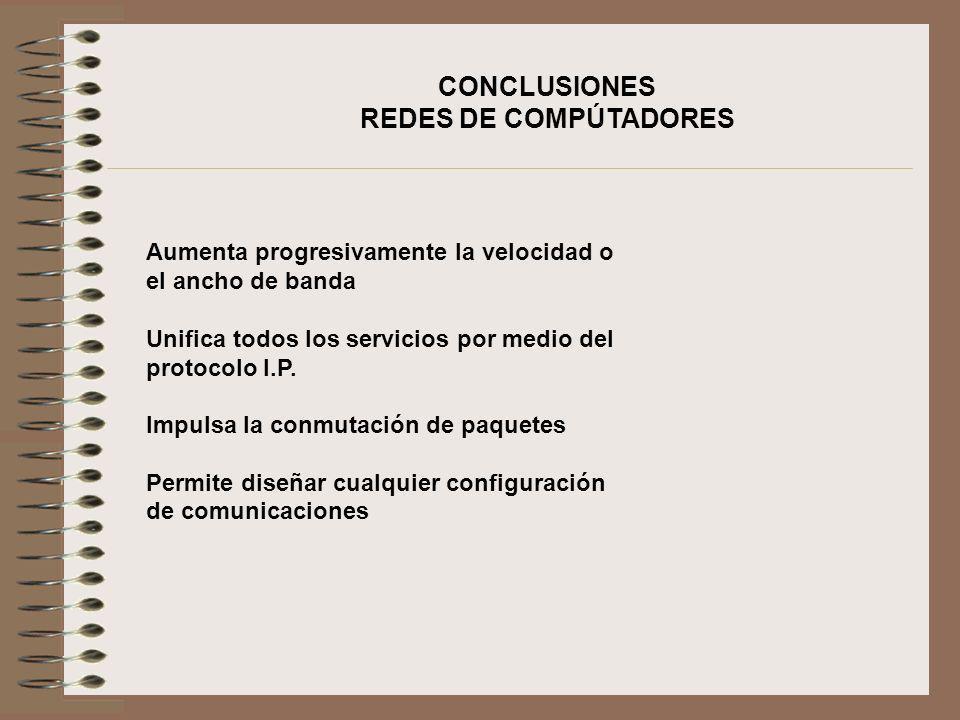 CONCLUSIONES REDES DE COMPÚTADORES