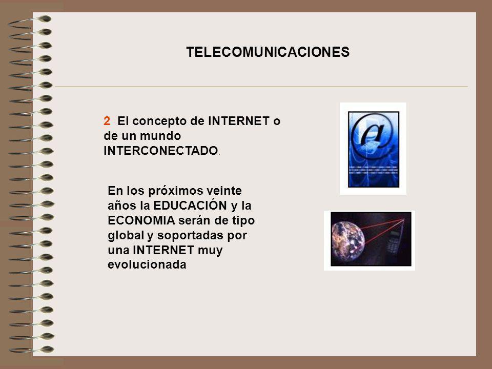 TELECOMUNICACIONES 2 El concepto de INTERNET o de un mundo INTERCONECTADO.