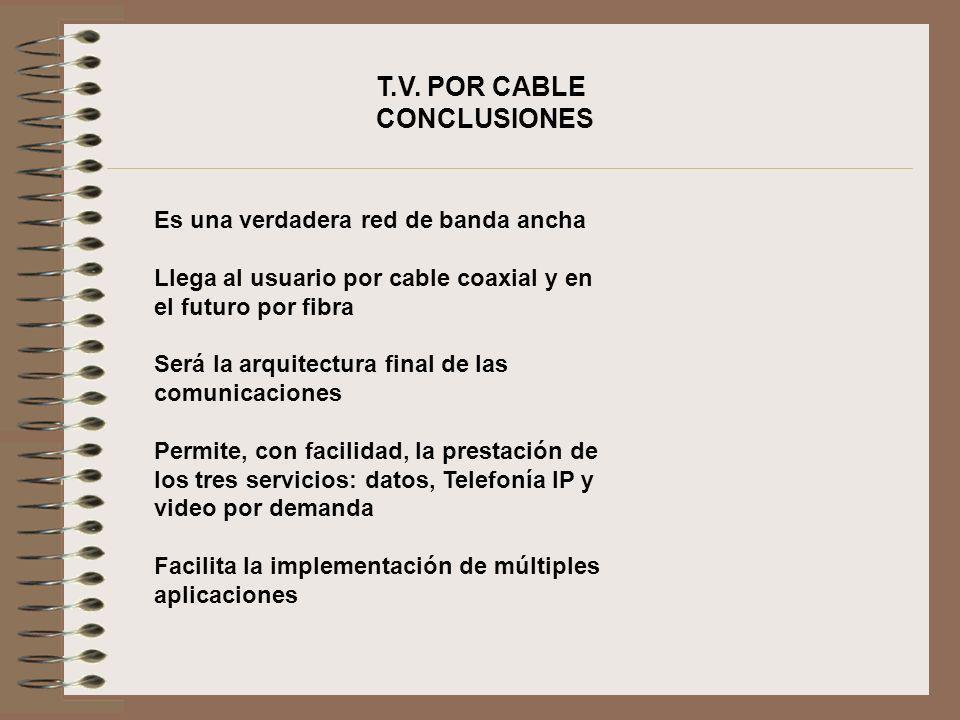 T.V. POR CABLE CONCLUSIONES Es una verdadera red de banda ancha