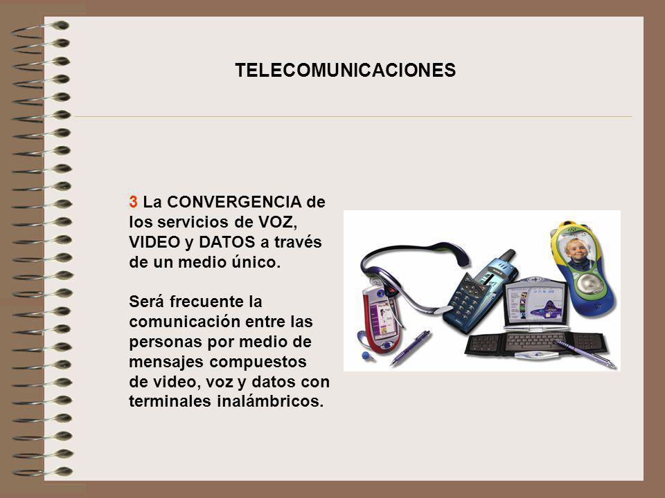 TELECOMUNICACIONES3 La CONVERGENCIA de los servicios de VOZ, VIDEO y DATOS a través de un medio único.