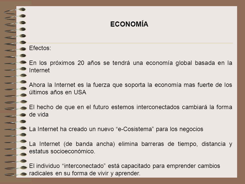 ECONOMÍA Efectos: En los próximos 20 años se tendrá una economía global basada en la Internet.