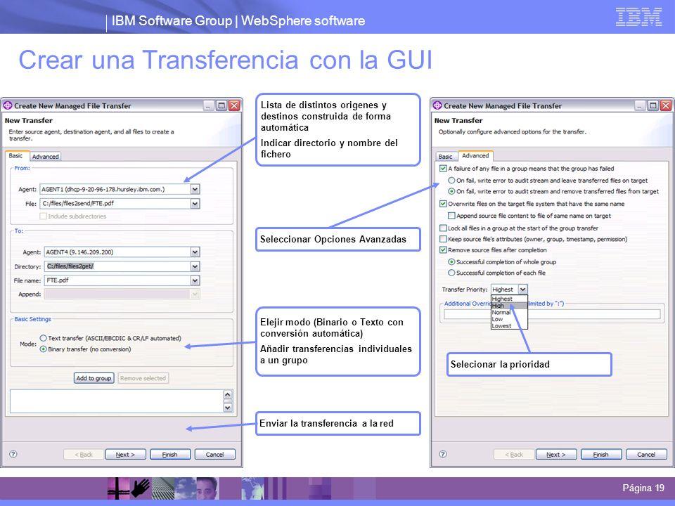 Crear una Transferencia con la GUI