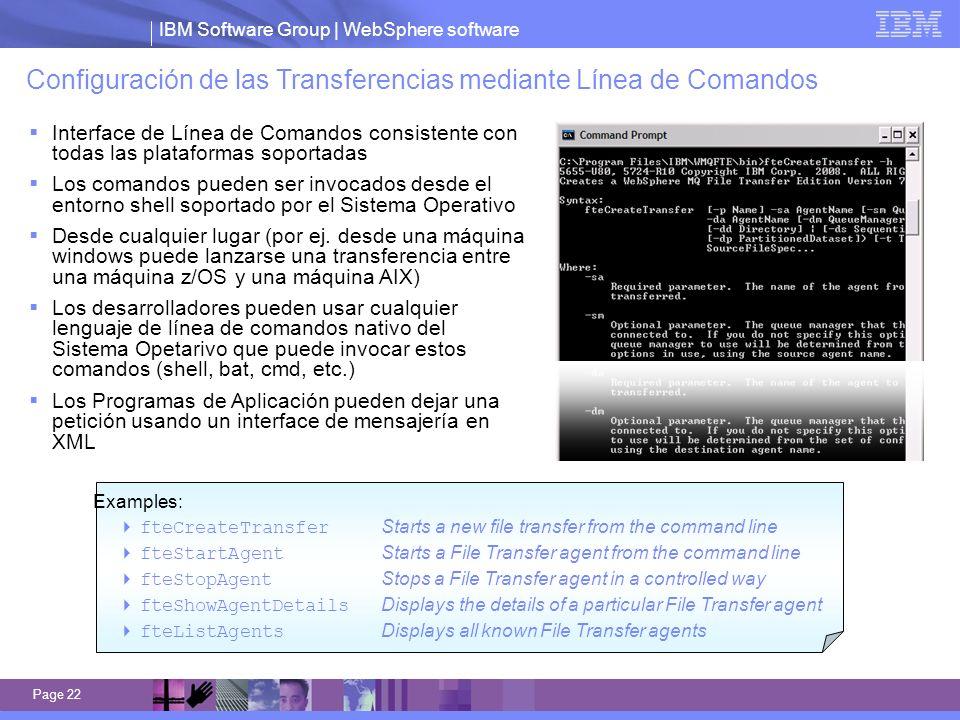 Configuración de las Transferencias mediante Línea de Comandos