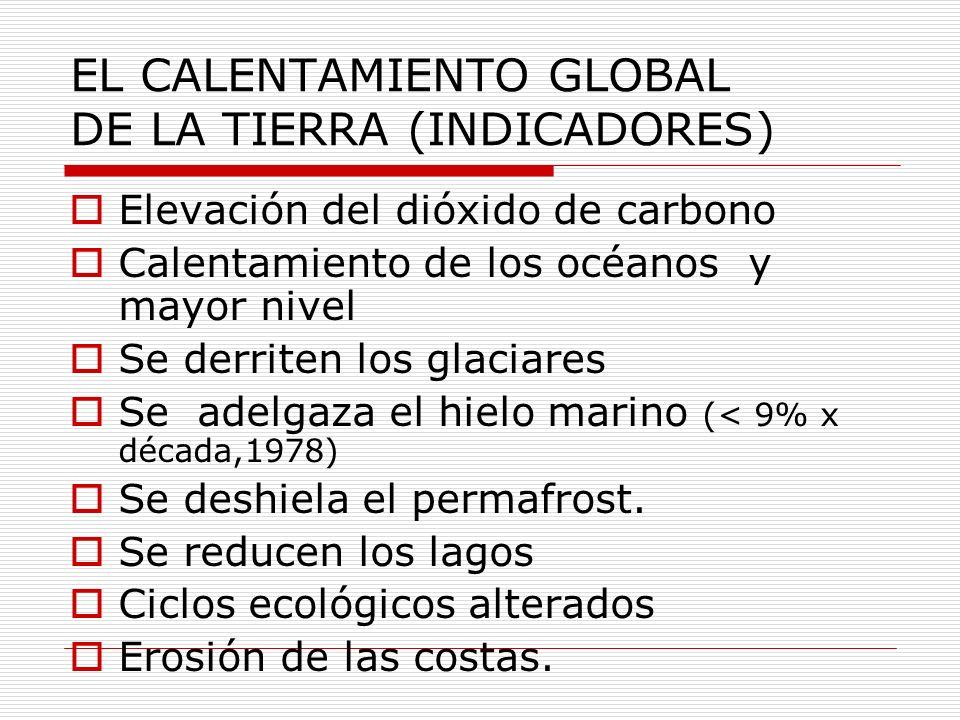 EL CALENTAMIENTO GLOBAL DE LA TIERRA (INDICADORES)