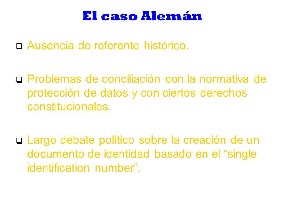 El caso Alemán Ausencia de referente histórico.