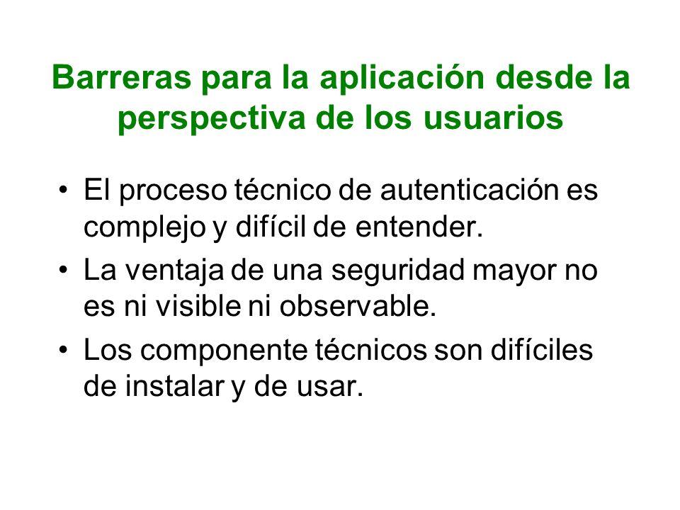 Barreras para la aplicación desde la perspectiva de los usuarios
