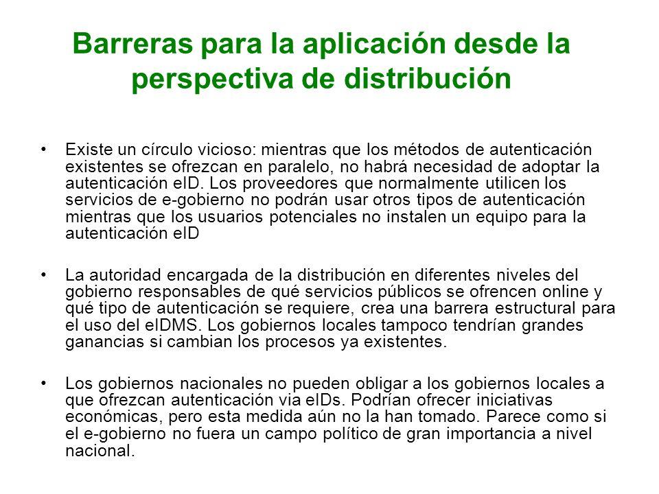 Barreras para la aplicación desde la perspectiva de distribución