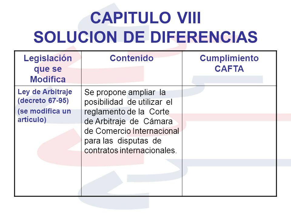 CAPITULO VIII SOLUCION DE DIFERENCIAS