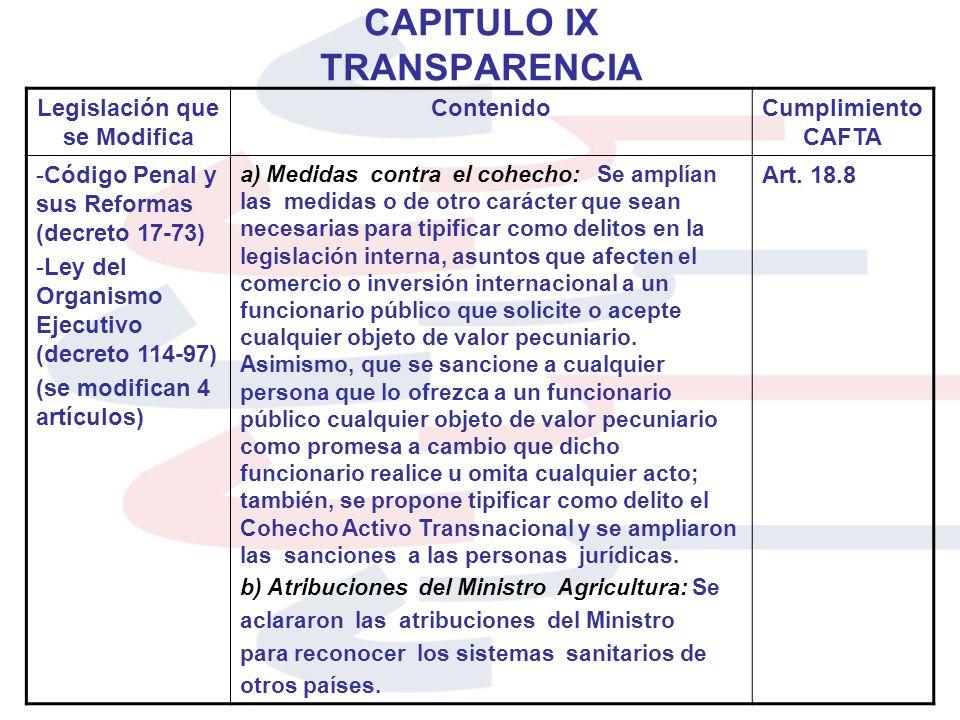 CAPITULO IX TRANSPARENCIA