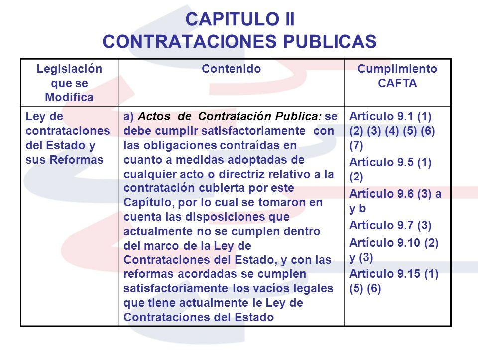 CAPITULO II CONTRATACIONES PUBLICAS