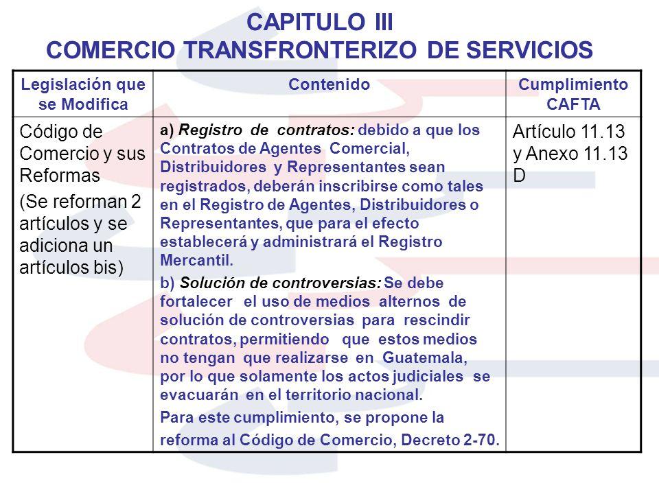 CAPITULO III COMERCIO TRANSFRONTERIZO DE SERVICIOS