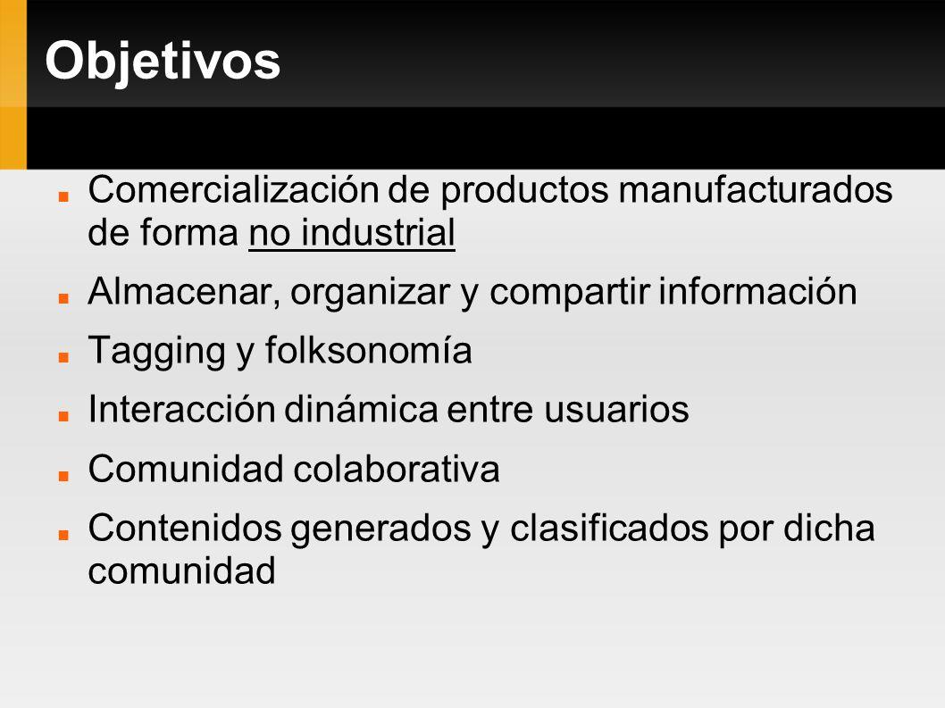 Objetivos Comercialización de productos manufacturados de forma no industrial. Almacenar, organizar y compartir información.