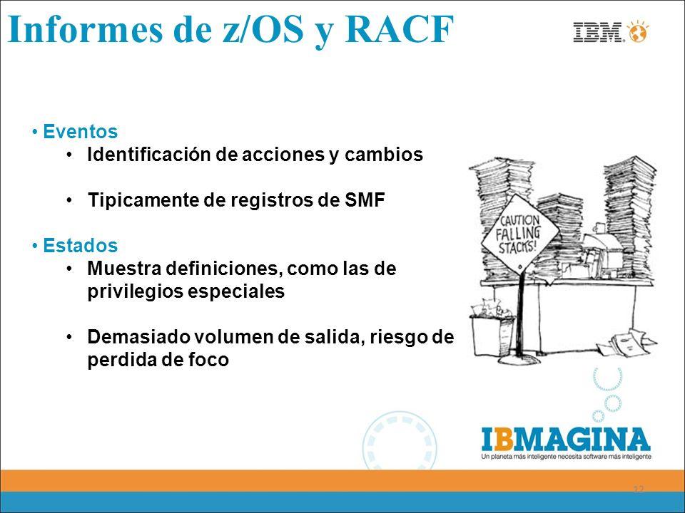 Informes de z/OS y RACF Eventos Identificación de acciones y cambios