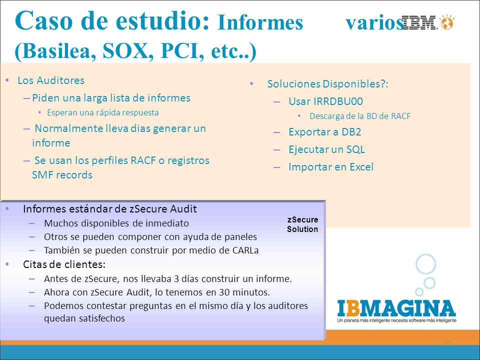 Caso de estudio: Informes varios (Basilea, SOX, PCI, etc..)