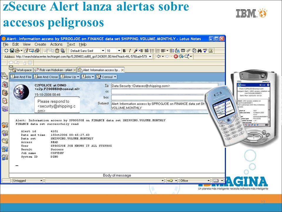zSecure Alert lanza alertas sobre accesos peligrosos