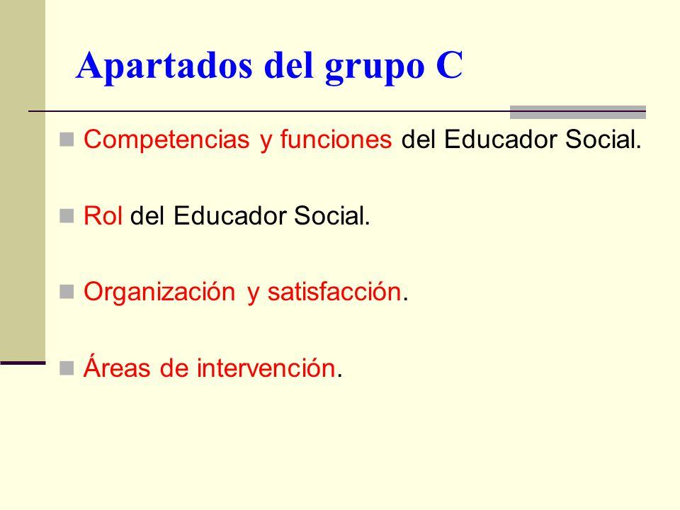 Apartados del grupo C Competencias y funciones del Educador Social.