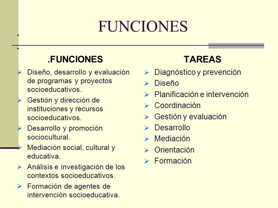 FUNCIONES . .FUNCIONES TAREAS Diagnóstico y prevención Diseño