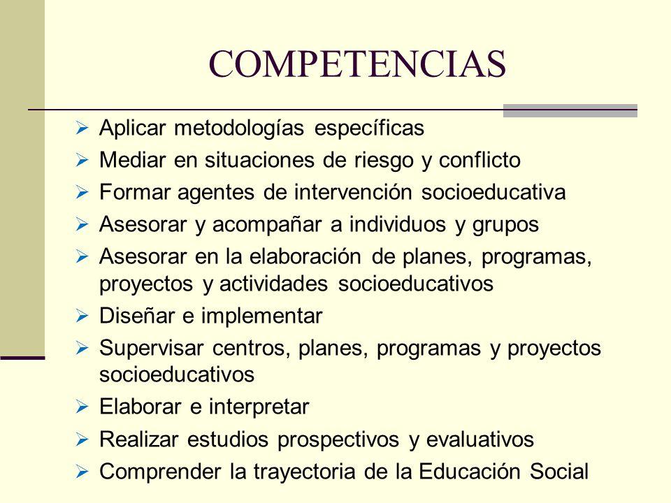 COMPETENCIAS Aplicar metodologías específicas