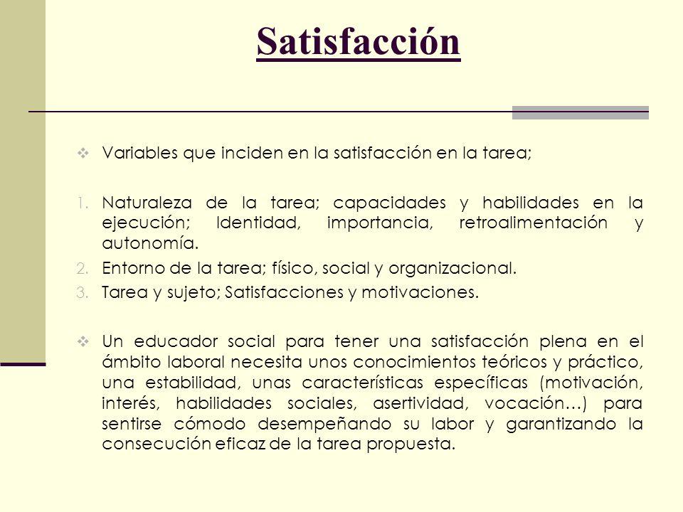 Satisfacción Variables que inciden en la satisfacción en la tarea;