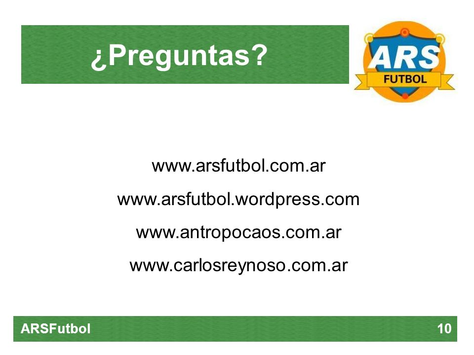 ¿Preguntas www.arsfutbol.com.ar www.arsfutbol.wordpress.com