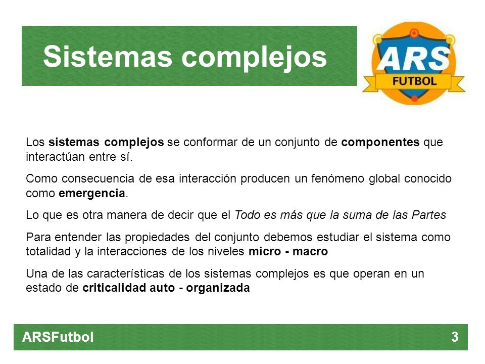 Sistemas complejos ARSFutbol 3