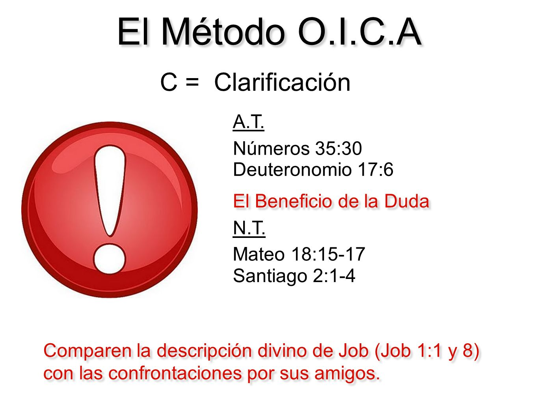 El Método O.I.C.A C = Clarificación A.T. Números 35:30