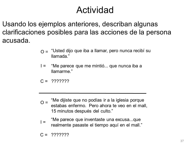 Actividad Usando los ejemplos anteriores, describan algunas clarificaciones posibles para las acciones de la persona acusada.