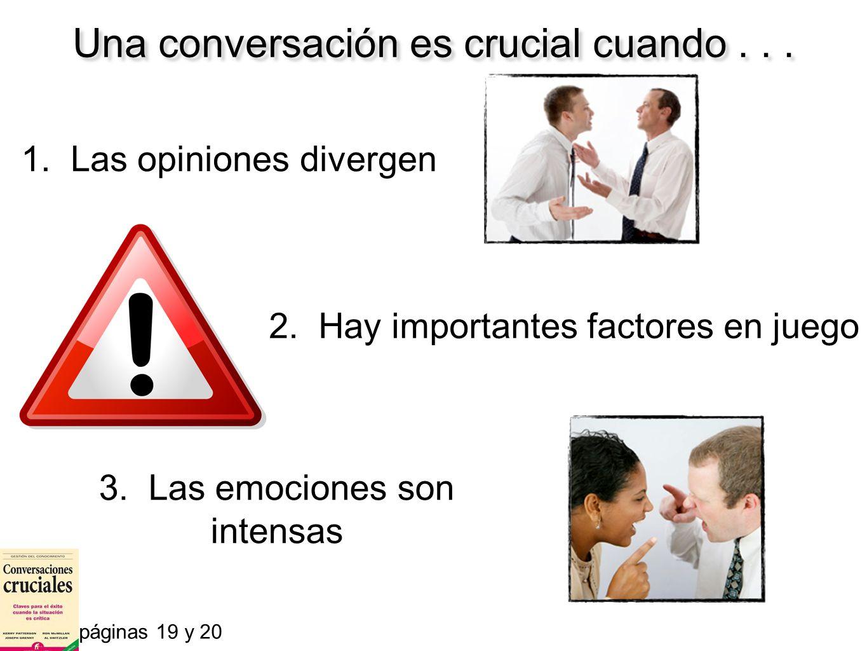 Una conversación es crucial cuando . . .