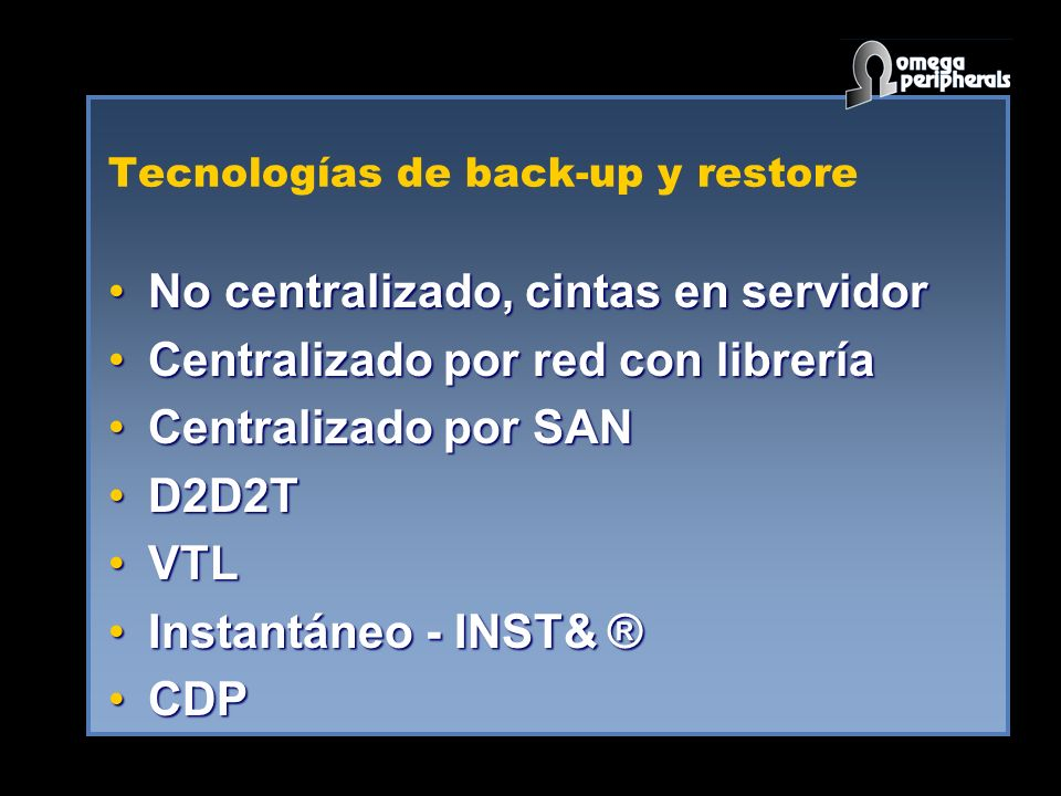 Tecnologías de back-up y restore