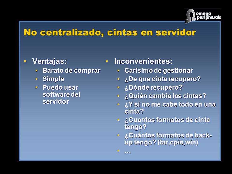 No centralizado, cintas en servidor
