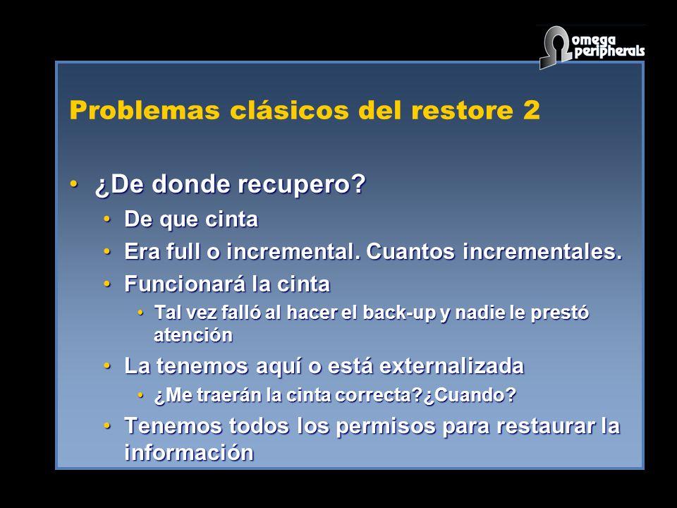 Problemas clásicos del restore 2