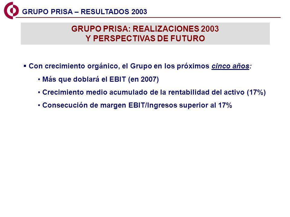 GRUPO PRISA: REALIZACIONES 2003 Y PERSPECTIVAS DE FUTURO