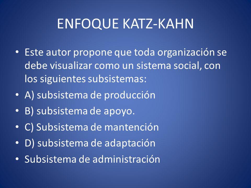 ENFOQUE KATZ-KAHNEste autor propone que toda organización se debe visualizar como un sistema social, con los siguientes subsistemas: