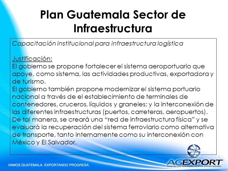 Plan Guatemala Sector de Infraestructura