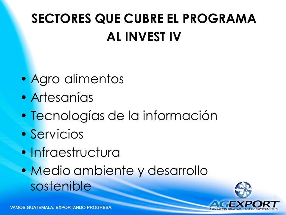 SECTORES QUE CUBRE EL PROGRAMA AL INVEST IV
