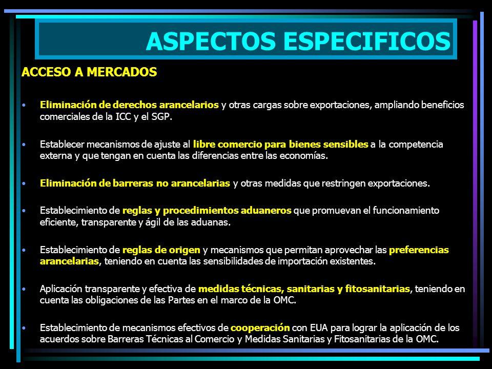 ASPECTOS ESPECIFICOS ACCESO A MERCADOS