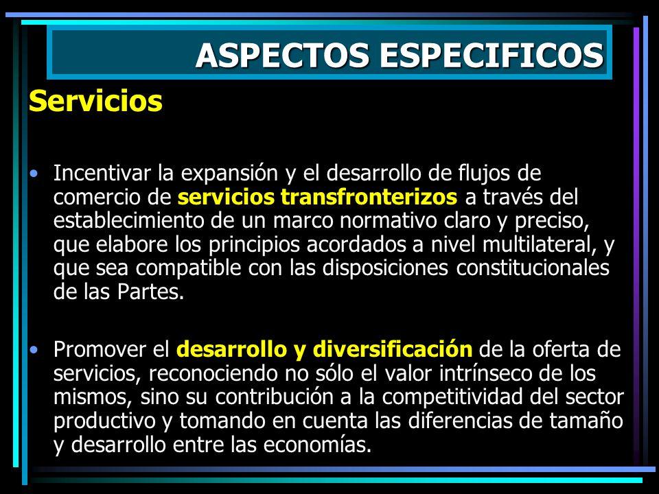 ASPECTOS ESPECIFICOS Servicios