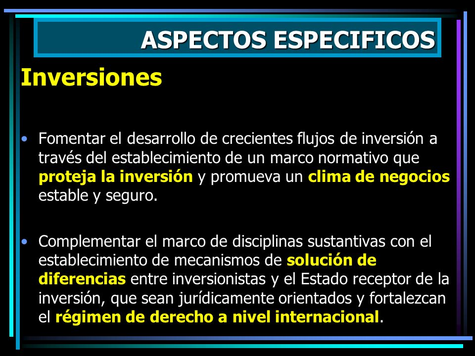 ASPECTOS ESPECIFICOS Inversiones