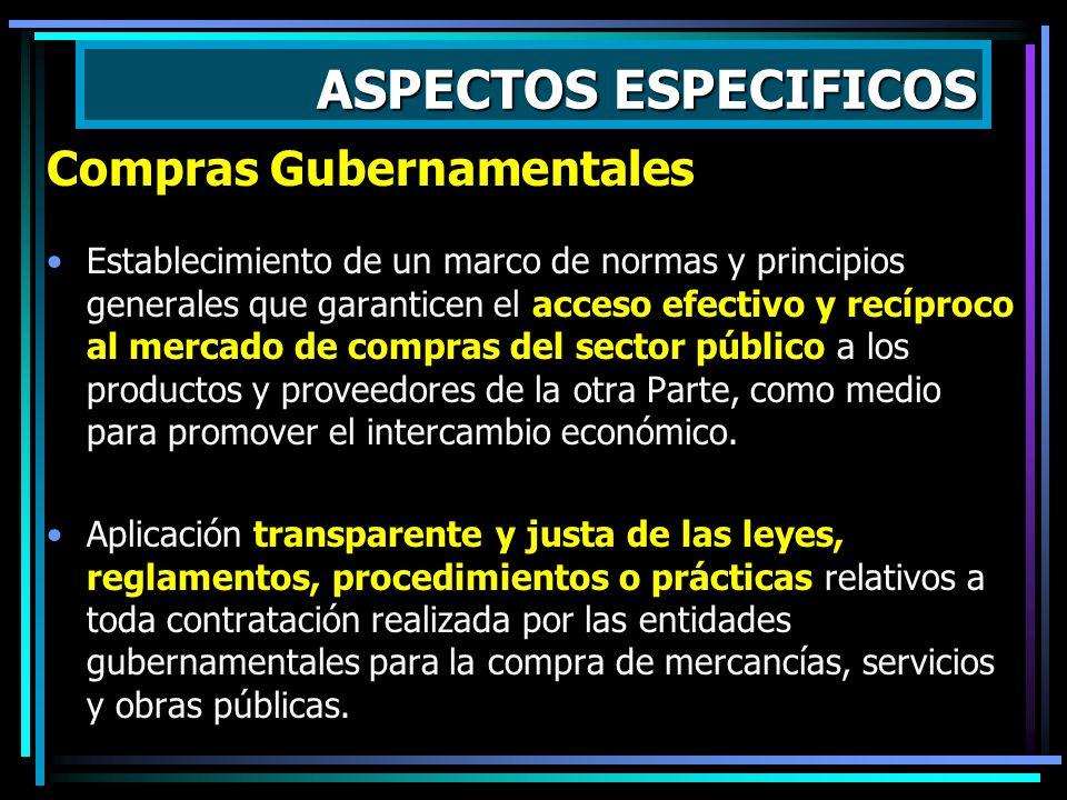 ASPECTOS ESPECIFICOS Compras Gubernamentales