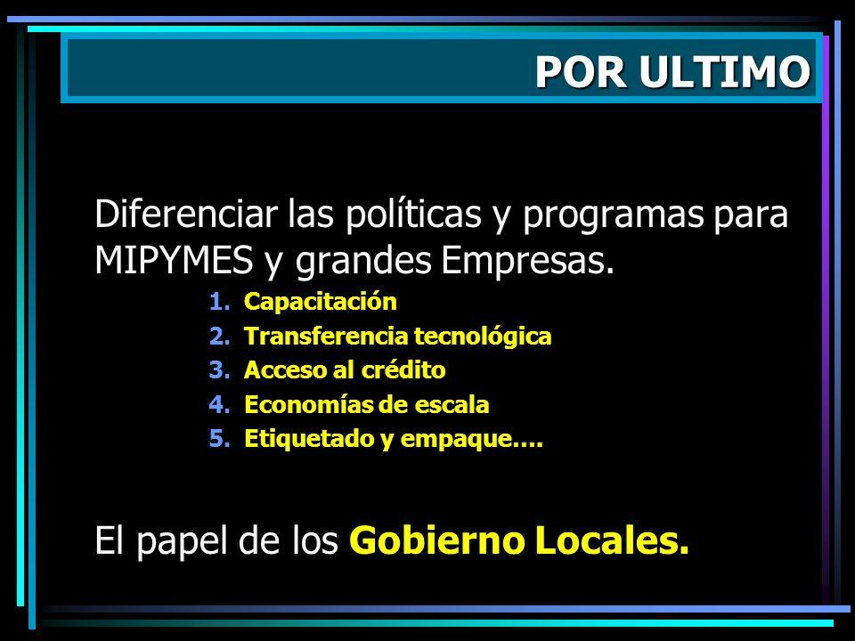 POR ULTIMO Diferenciar las políticas y programas para MIPYMES y grandes Empresas. Capacitación. Transferencia tecnológica.