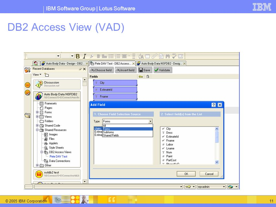 DB2 Access View (VAD) Validation Choosing Fields