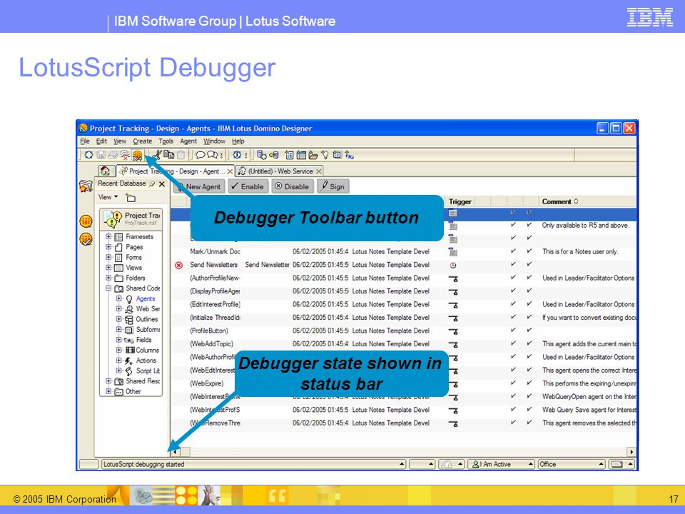 Debugger Toolbar button Debugger state shown in