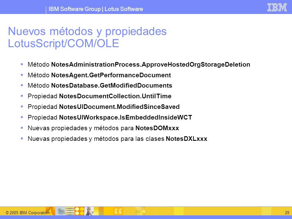 Nuevos métodos y propiedades LotusScript/COM/OLE