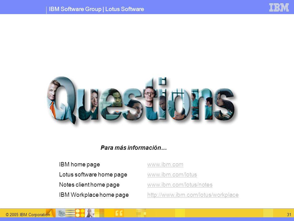 Para más información…IBM home page www.ibm.com. Lotus software home page www.ibm.com/lotus. Notes client home page www.ibm.com/lotus/notes.