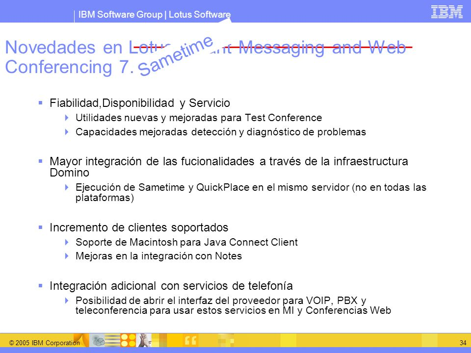 Novedades en Lotus Instant Messaging and Web Conferencing 7.0