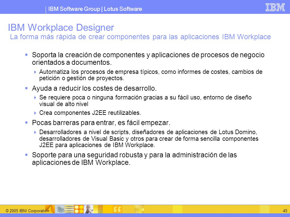 IBM Workplace Designer La forma más rápida de crear componentes para las aplicaciones IBM Workplace