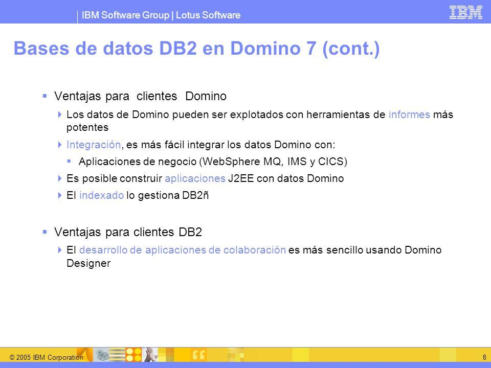 Bases de datos DB2 en Domino 7 (cont.)