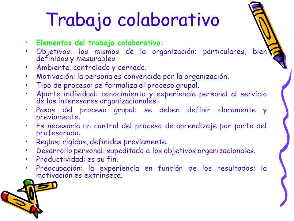 Trabajo colaborativo Elementos del trabajo colaborativo: