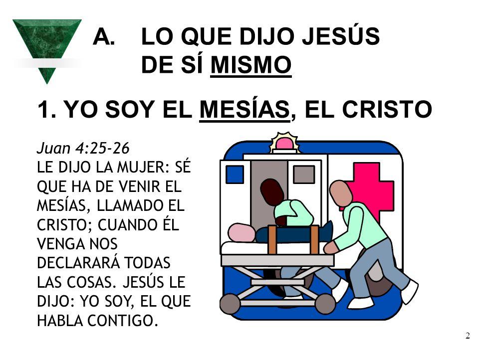 A. LO QUE DIJO JESÚS DE SÍ MISMO
